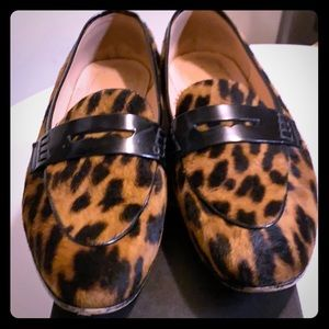 J. Crew calf hair leopard Academy penny loafers